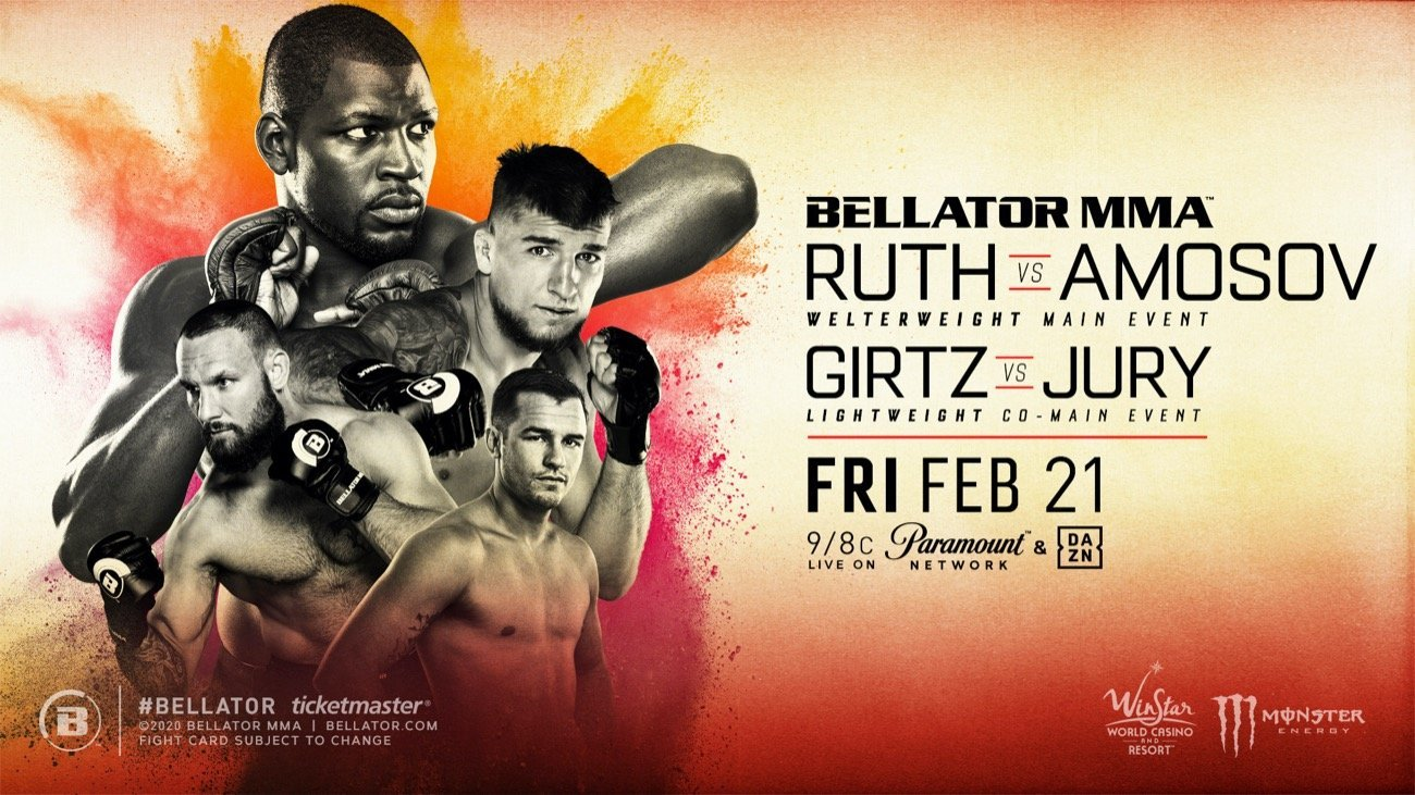 The full slate of bouts for Bellator's return to WinStar World Casino and Resort in Thackerville, Okla. this Friday, February 21 has been finalized with a stacked four-fight main card airing at 9 p.m. ET/8 p.m. CT on Paramount Network and DAZN. Additionally, a total of 13 preliminary fights will stream on Bellator MMA's YouTube channel and DAZN beginning at 6:15 p.m. PT/5:15 p.m. CT.