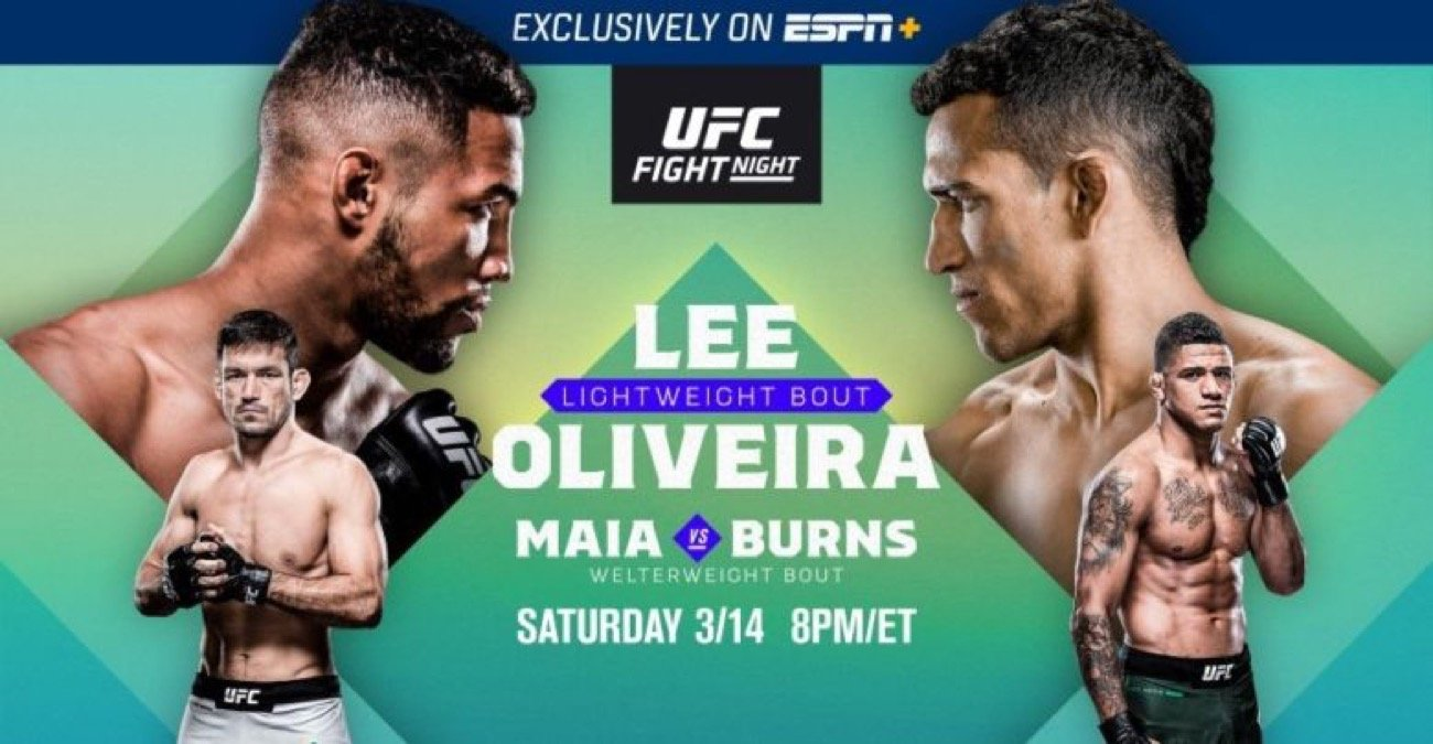 UFC Fight Night on ESPN+: Lee vs. Oliveira in Brasilia streams exclusively on ESPN+ this Saturday, March 14, at 8 p.m. ET from Nilson Nelson Gymnasium. The lightweight matchup will feature Kevin Lee (18-5) vs. Charles Oliveira (28-8, 1 NC) for UFC's 37th event on Brazilian soil. UFC Live returns to ESPN2 on Friday at 5:30 p.m., providing fans with exclusive takes on the biggest news, stars and stories tailored to UFC Fight Night. In addition, every fight on the card will be available for individual fight-by-fight replay on ESPN+.