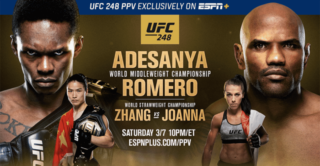 UFC 248: Adesanya vs. Romero streams exclusively on ESPN+ PPV this Saturday, March 7, at 10 p.m. ET when the Octagon returns to T-Mobile Arena in Las Vegas. The main event features undefeated middleweight champion Israel Adesanya (18-0) in his first title defense against Cuban powerhouse and No. 3-ranked Yoel Romero (13-4). Adesanya most recently claimed the undisputed crown against Robert Whittaker last October at UFC 243. An Olympic silver medalist in freestyle wrestling in 2000, Romero, looks to show off his power, having earned 11 of his 13 victories by knockout.