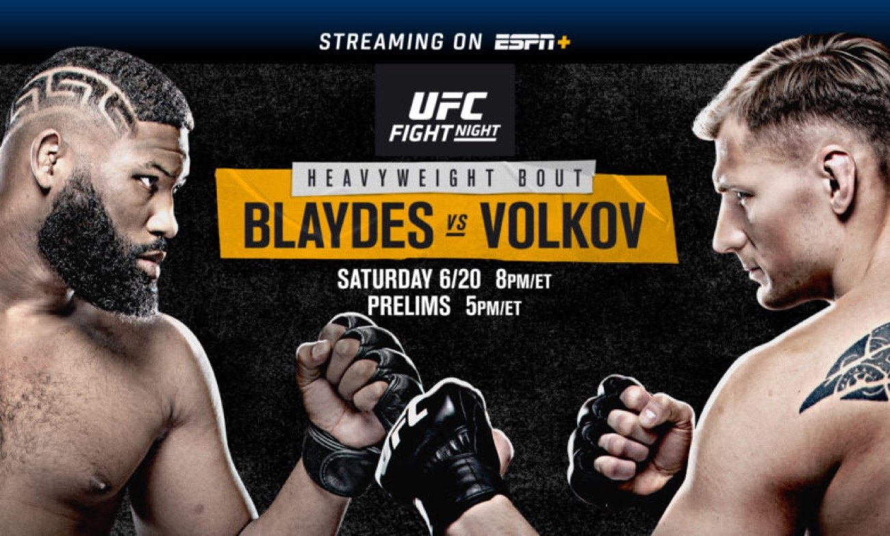 UFC Fight Night on ESPN: Blaydes vs. Volkov is set for this Saturday, June 20 from UFC APEX in Las Vegas. The main event features No. 3-ranked heavyweight contender Curtis Blaydes taking on No. 7-ranked Alexander Volkov. In the co-main event, Josh Emmett faces Shane Burgos in a battle of featherweight contenders.