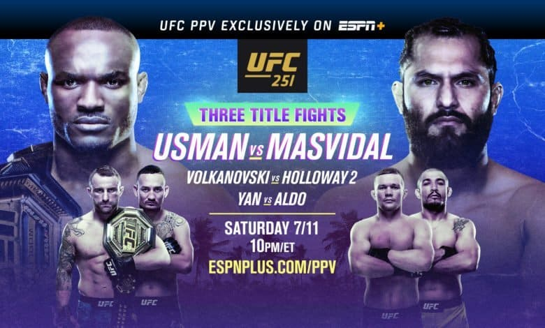 UFC 251: Usman vs Masvidal streams exclusively on ESPN+ PPV this Saturday, July 11, at 10 p.m. ET, when the Octagon travels to Yas Island, Abu Dhabi in the United Arab Emirates. UFC 251: Usman vs Masvidal will feature three championship bouts and kicks off a series of four events from UFC FIGHT ISLAND. UFC welterweight champion Kamaru Usman, in his second title defense, faces No. 3-ranked contender and baddest in the sport, Jorge Masvidal, in the main event. The co-main will feature a rematch between featherweight champion Alexander Volkanovski against former division champion and No. 1 contender Max Holloway.