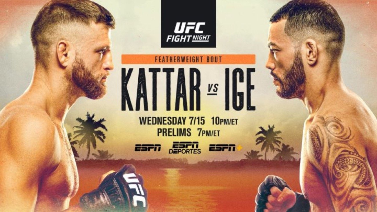 UFC Fight Night on ESPN: Kattar vs. Ige is set for this Wednesday, July 15 from UFC FIGHT ISLAND on Yas Island, Abu Dhabi. The main event features No. 6-ranked featherweight contender contender Calvin Kattar taking on No. 10-ranked Dan Ige. In the co-main event, No. 12-ranked flyweight Timothy Elliot will take on Ryan Benoit.