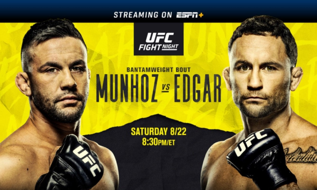 UFC FIGHT NIGHT: Munhoz vs. Edgar is set for this Saturday, August 22, at UFC Apex in Las Vegas. The main event features an exciting bantamweight matchup between the division's No. 5-ranked contender Pedro Munhoz (18-4, 1 NC) and former UFC lightweight champion and featherweight title challenger Frankie Edgar (22-8-1). Edgar makes his debut in the 135-pound weight class, aiming to immediately impact the bantamweight division and position himself as the first athlete to challenge for UFC gold in three divisions.