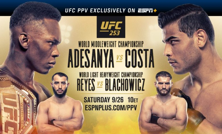 UFC 253: Adesanya vs. Costa streams exclusively on ESPN+ PPV this Saturday, September 26 at 10 p.m. ET, when the Octagon returns to Yas Island, Abu Dhabi in the United Arab Emirates. UFC FIGHT ISLAND kicks off with a middleweight championship fight and a battle for the vacant light heavyweight championship. The highly anticipated main event will feature undefeated vs undefeated in a title fight, when undefeated UFC middleweight champion, Israel Adesanya, faces undefeated and No. 2-ranked contender Paulo Costa. The co-main will feature the start of a new era for the light heavyweight division, as No. 1-ranked Dominick Reyes and No. 3-ranked Jan Blachowicz battle it out for the vacant light heavyweight championship.
