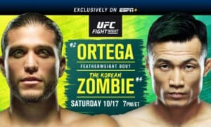 Main Event features featherweight clash between No. 2 Brian Ortega and No. 4 Chan Sung Jung - Main Card begins at 7 p.m. ET and Prelims begin at 4 p.m. exclusively on ESPN+ - ESPN+ available on the ESPN.com, ESPNplus.com and ESPN App for mobile connected TV devices.To subscribe, visitcom/ufc