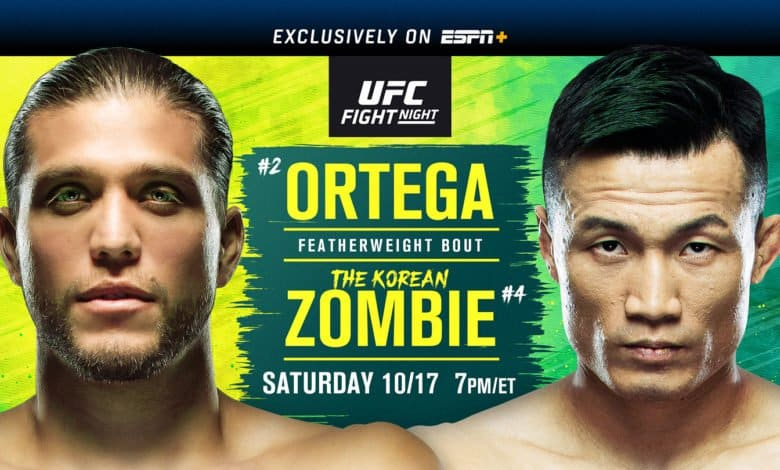 Main Event features featherweight clash between No. 2 Brian Ortega and No. 4 Chan Sung Jung - Main Card begins at 7 p.m. ET and Prelims begin at 4 p.m. exclusively on ESPN+ - ESPN+ available on the ESPN.com, ESPNplus.com and ESPN App for mobile connected TV devices. To subscribe, visit com/ufc