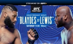 UFC Fight Night: Blaydes vs. Lewis takes place this Saturday, November 28, at 10 p.m. ET, live from the UFC APEX facility in Las Vegas. Fight Night is headlined by a matchup between top heavyweight contenders Curtis Blaydes (No. 2) and Derrick Lewis (No. 4). The card also features former UFC light heavyweight title challenger Anthony Smith (No. 6) taking on Devin Clark.
